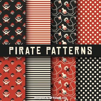 赤と黒の海賊のパターンのパック Premiumベクター