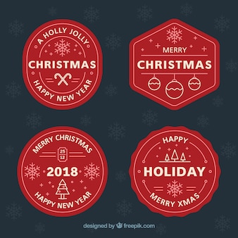 Pack of red christmas labels