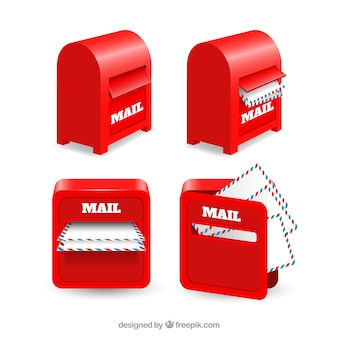 Pack of red mailboxes with letters