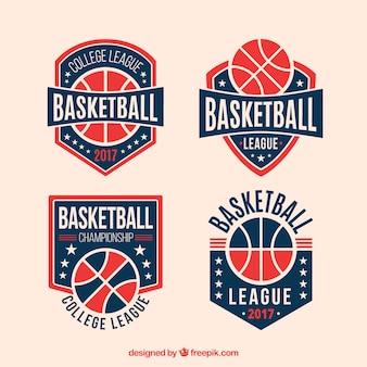 レトロバスケットボールバッジのパック