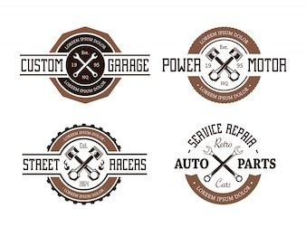 Pack of retro service repair badges