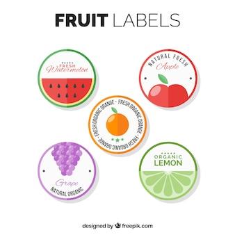 Упаковка круглых плодовых этикеток в плоском дизайне