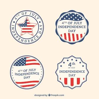 Пакет круглых стикеров день независимости в стиле ретро