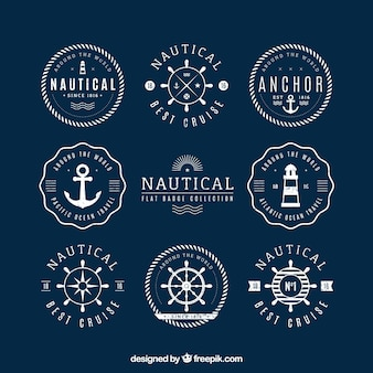 Pack of round nautical badges