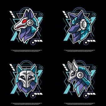 神聖な幾何学のオオカミのパック
