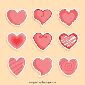 Пакет блестящих наклеек сердца