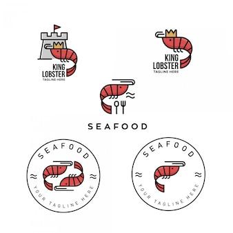 シーフードレストランのエビのロゴのパック