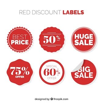 Pack of six circular discount stickers