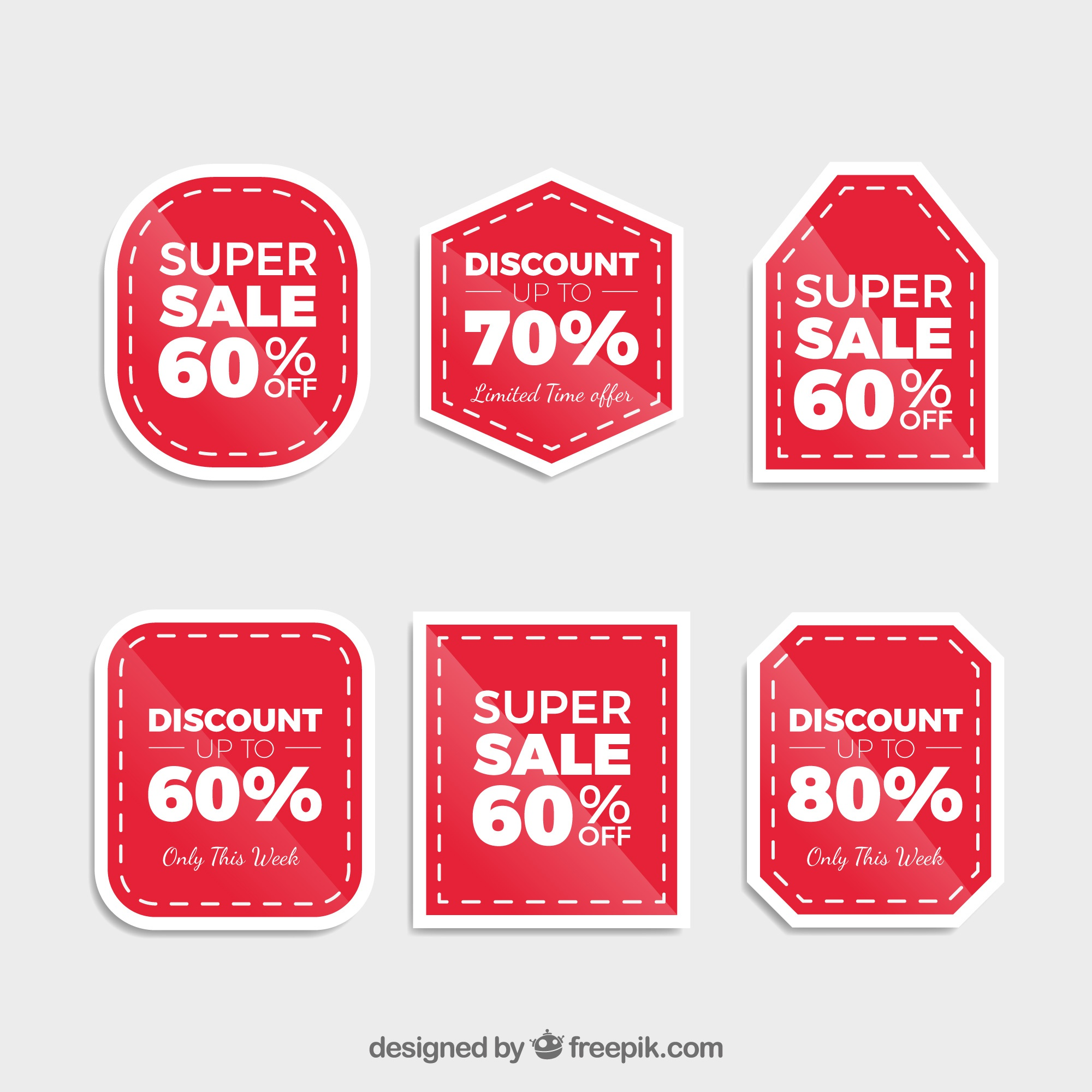 Pack of six discount stickers