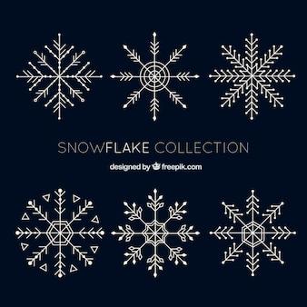 Pack of six fantastic snowflakes in flat design