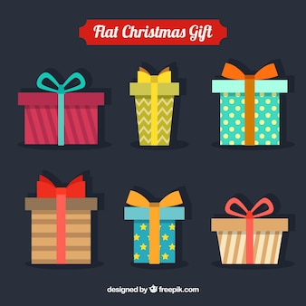 Pack of six geometric christmas gifts with different designs