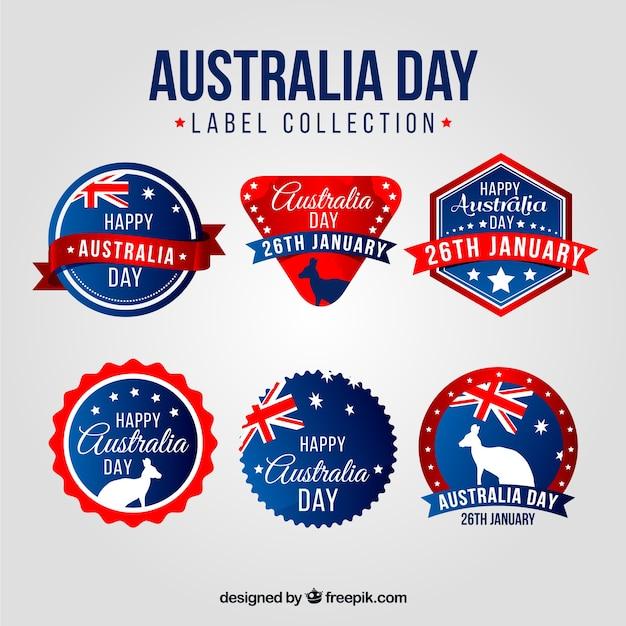 オーストラリアの日の6ラベルのパック