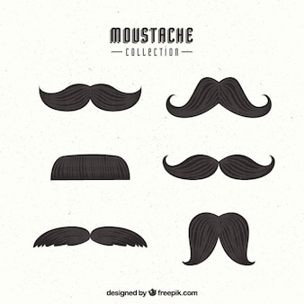 Pack of six mustaches in vintage style