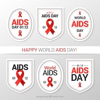 赤いリボンと世界エイズの日の6個の白色ステッカーのパック