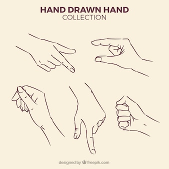 Pack of sketches of hands
