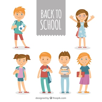 Pack of smiley students with flat design