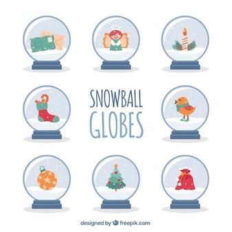 クリスマスの要素を持つ雪だるま式地球儀のパック