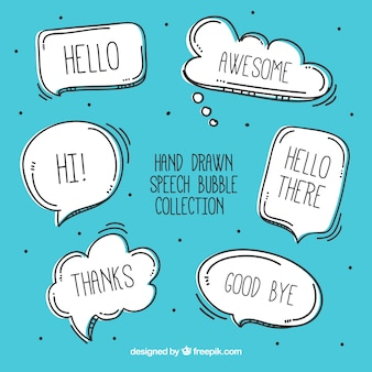 Pack of speech bubbles sketches with messages
