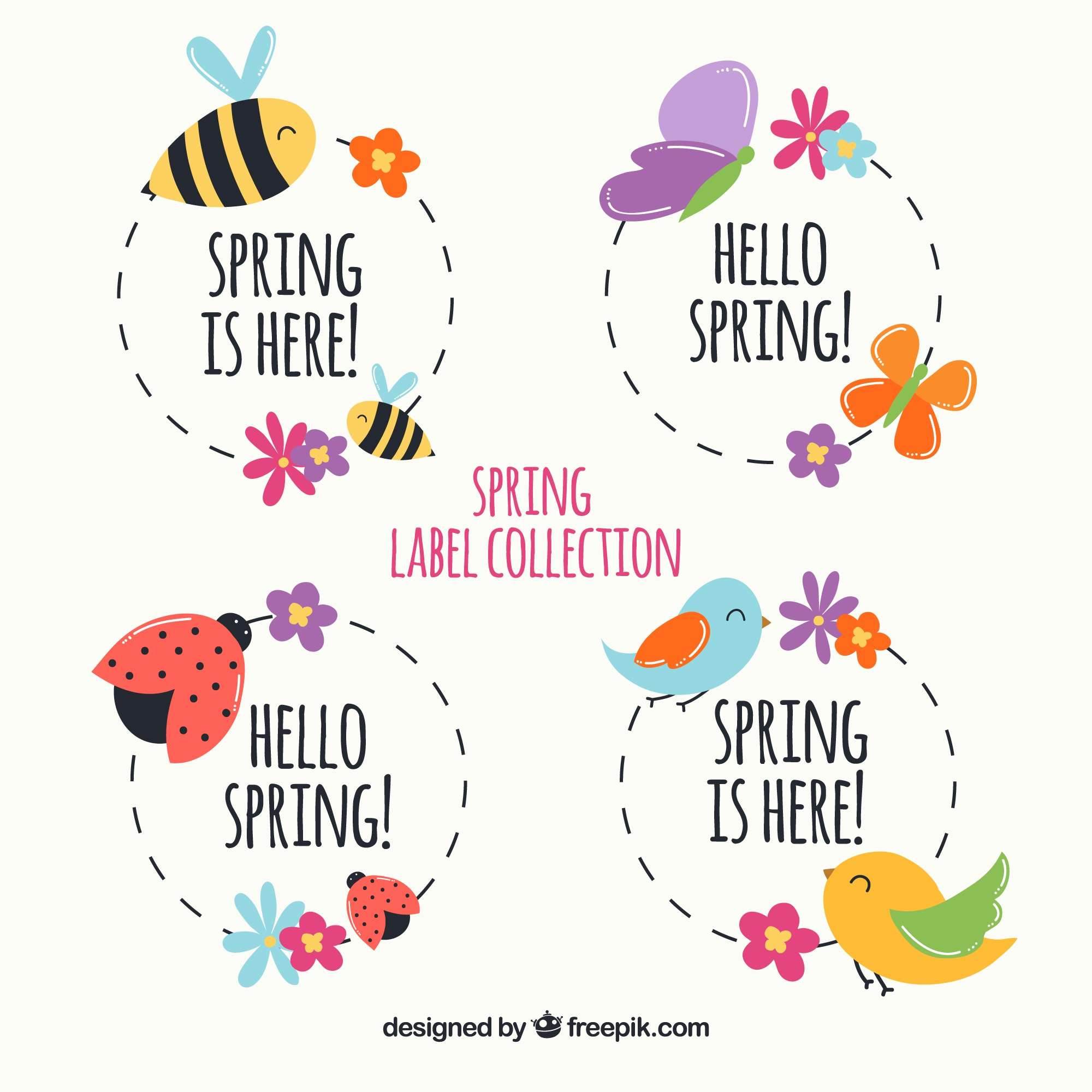 Pack of spring labels with animals