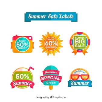 Пакет летних рекламных наклеек в плоском дизайне