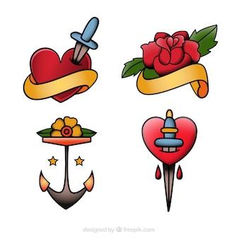 Пакет татуировок с сердечками и цветами
