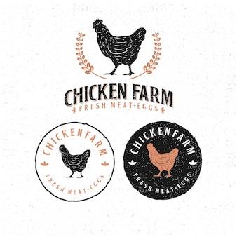 テンプレート鶏ロゴのパック。