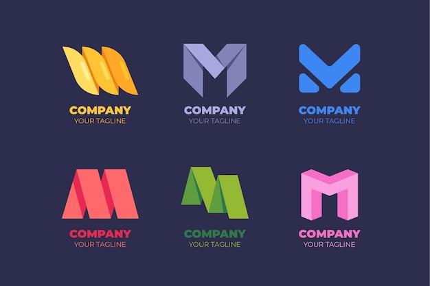 M個のロゴが付いたテンプレートのパック