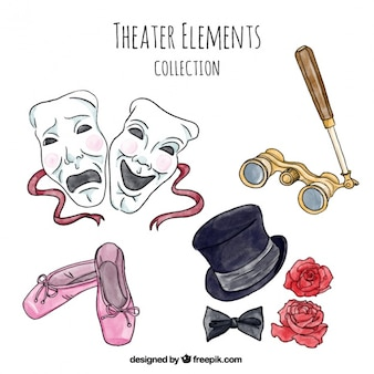 Pack of theater items in watercolor style