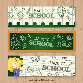 Pack of three blackboard and book leaves banners
