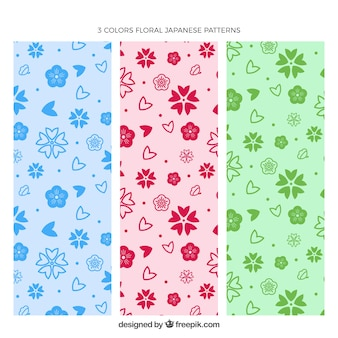 Pack of three colored floral patterns