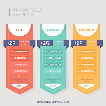 Pack of three colored price banners