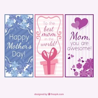 母の日のための3つのグリーティングカードのパック
