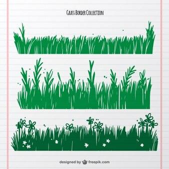 Pack of three hand-drawn grass borders
