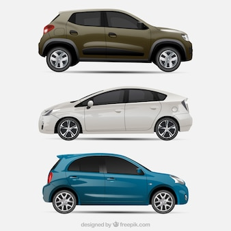 3台の現実的な車のパック