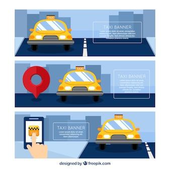 3タクシーアプリケーションバナーのパック