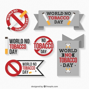 Pack of tobacco day stickers in flat design