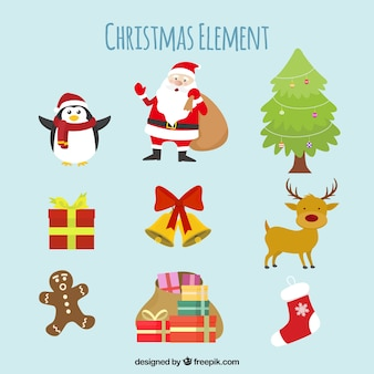 Pack of traditional christmas elements