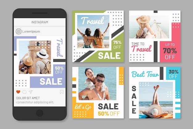 여행 판매 소셜 미디어 게시물 팩