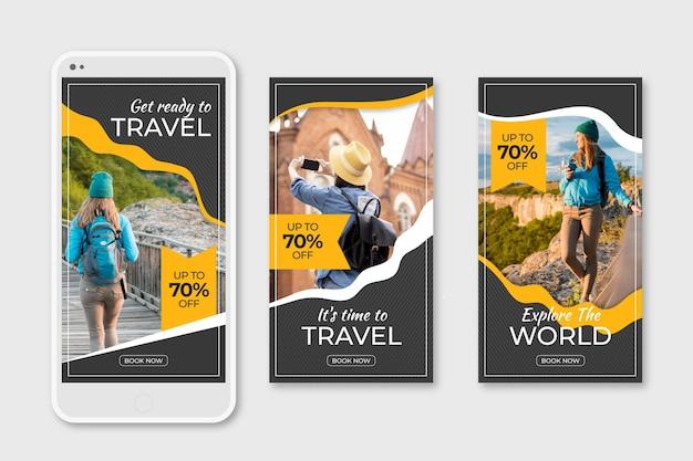 旅行販売ソーシャルメディアストーリーのパック