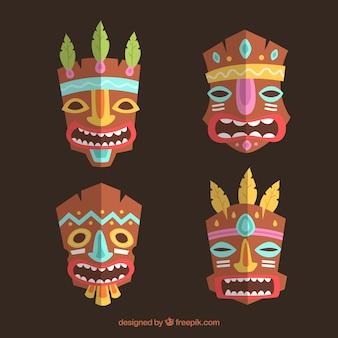 Пакет племенных масок с красочными деталями