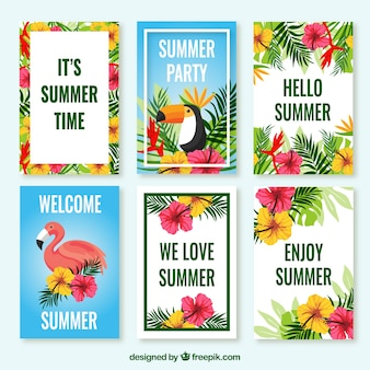 Pack of tropical cards with flowers and birds