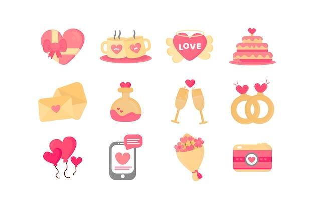バレンタインデーの要素のパック手描きスタイル