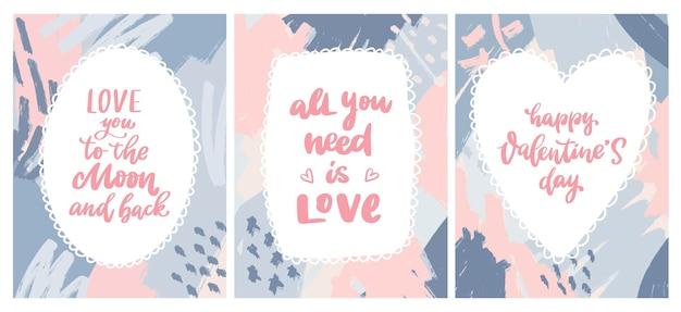Пакет надписей ко дню святого валентина, люблю тебя до луны и обратно