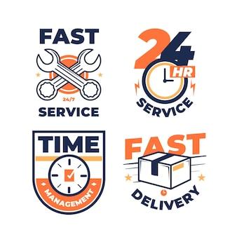 다양한 빠른 서비스 로고 디자인 팩