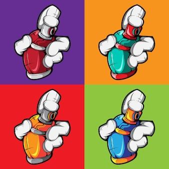Набор векторной руки с иллюстрацией спрей краской