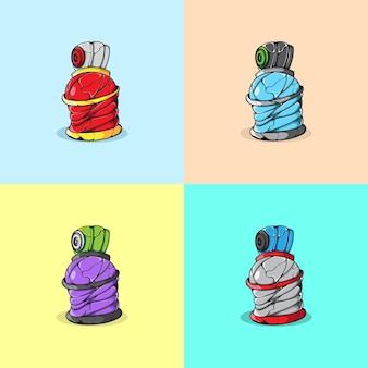 Набор векторной краски разного цвета