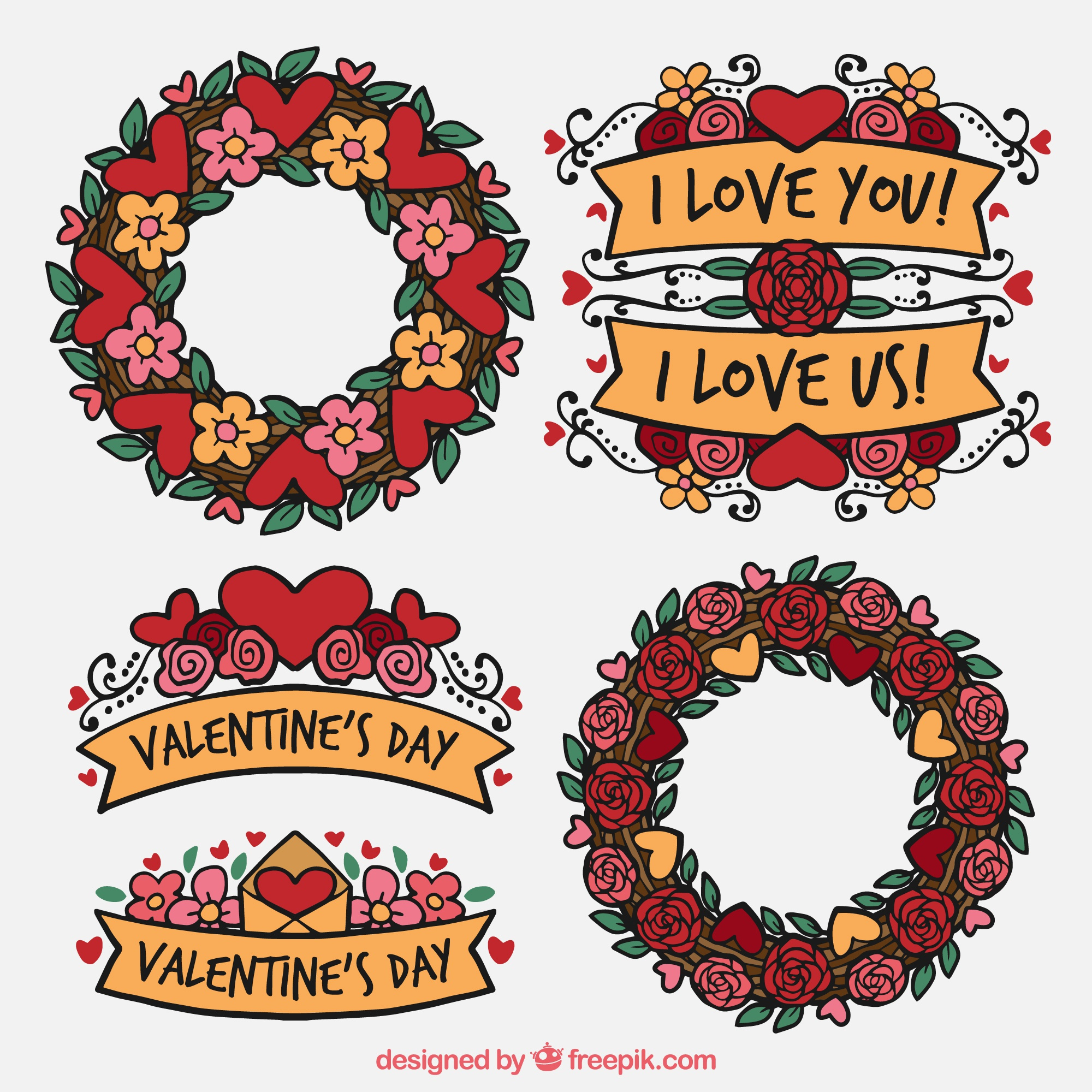 Pack of vintage floral wreaths and ribbons for valentine