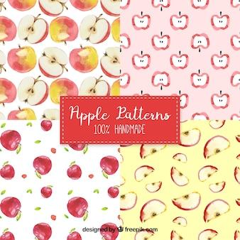 水彩のリンゴのパターンのパック