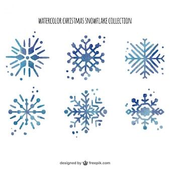 Pack of watercolor beautiful geometric snowflakes