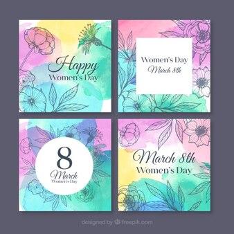 Пакет акварельных карты с цветочными эскизам день женщины